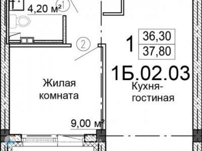 1-к. кв. ЖК Стрелки, 38 м2, 3/25 эт.