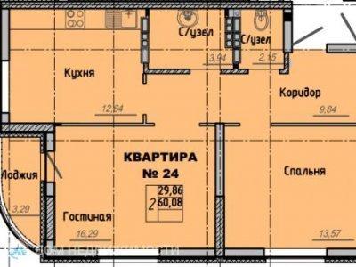 2-к. кв. ЖК Рябиновый, 60 м2, 6/16 эт.