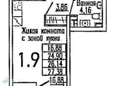 Студия ЖК Nova Park, 27 м2, 8/26 эт.