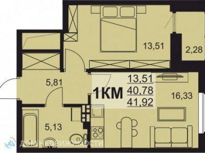 1-к. кв. ЖК Сириус, 42 м2, 2/6 эт.