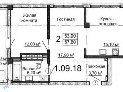 2-к.кв.  ЖК Родник, 58 м2, 6/25 эт.