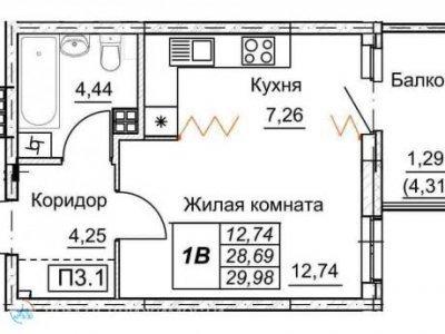 Студия ЖК Рифей, 30 м2, 7/9 эт.
