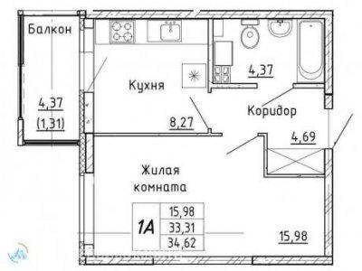 1-кв. ЖК Рифей, 35 м2, 4/9 эт.